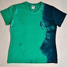 Tričká - Dámské triko s horolezcem XL - emerald/námoř.modrá 8019640 - 12743971_