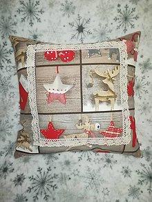 Úžitkový textil - Vankúš s vianočnou potlačou - 12749065_