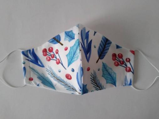 Trojvrstvové dámske rúško prémiová bavlna antibakteriálne s časticami striebra tvarované (Zima biele)