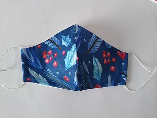 Trojvrstvové dámske rúško prémiová bavlna antibakteriálne s časticami striebra tvarované (Zima modré)