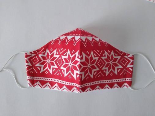 Trojvrstvové dámske rúško prémiová bavlna antibakteriálne s časticami striebra tvarované (Nórsky vzor červené)