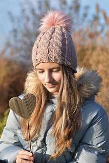 Detské čiapky - Staroružová vlnená čiapka - 12748232_