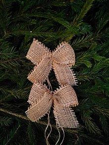 Dekorácie - jutové mašle na stromček hnedé  - 12746655_