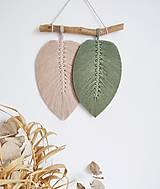 Makramé závesná dekorácia NATURE (Zelená/béžová)