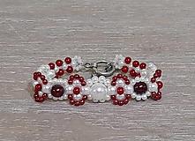 Náramky - Červeno-biely náramok - 12747538_