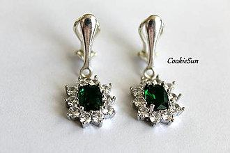 Náušnice - Klipsne Sissi Emerald - 12748347_