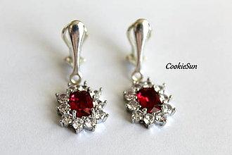 Náušnice - Klipsne Sissi Ruby Red - 12748362_