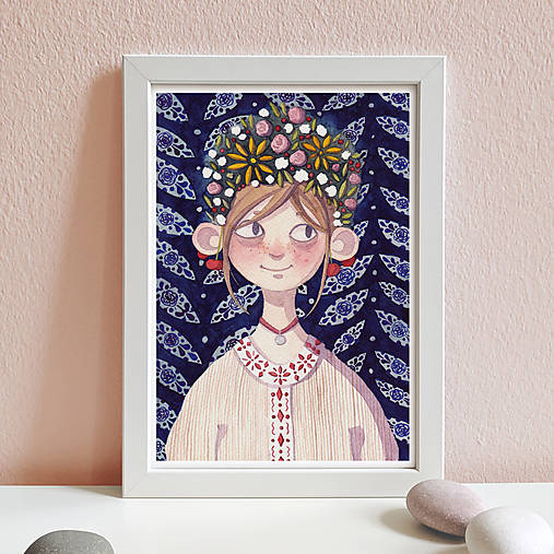 Dievča s kvetmi - art print A4