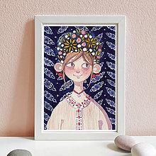 Obrázky - Dievča s kvetmi - art print A4 - 12748768_