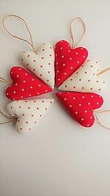 Dekorácie - Srdiečka vianočné červené a biele sada - 12748405_