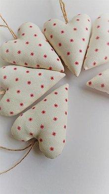 Dekorácie - Srdiečka vianočné biele sada - 12747906_