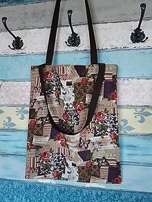 Nákupné tašky - Taška s růžemi a motýlky - sleva ze 7eur - 12746195_