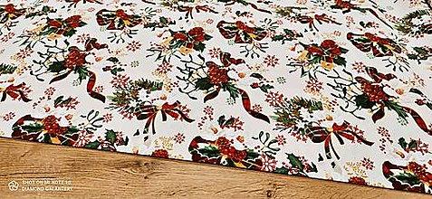 Textil - Bavlnená režná-Vianočné ruže II - cena za 10 cm - 12754271_