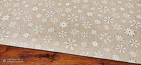 Textil - Bavlnená režná- Vločky na šedom s lurexom - cena za 10 cm - 12754315_