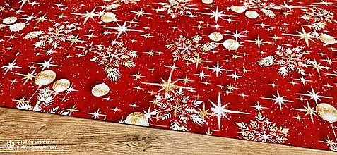 Textil - Bavlnená režná- Vianočný mix na červenom - cena za 10 cm - 12754371_