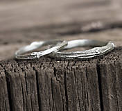 Prstene - Vetvičky snubné strieborné, jednoduché - 12754110_