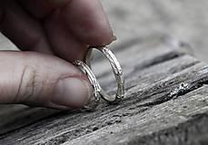Prstene - Vetvičky snubné strieborné, jednoduché - 12754112_