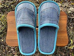 Obuv - Riflové papuče s vreckom a tyrkys lemom - 12750571_