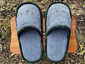 Obuv - Veľké modré riflové papuče s vreckom - 12750798_