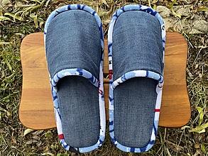 Obuv - Modré riflové papuče s bledomodrým strakatým lemom - 12751388_