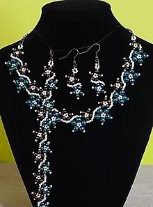 Sady šperkov - Tyrkysovo-hnedý perlový set - 12753165_