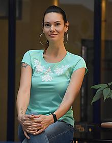 Tričká - Tričko Folk Mint - 12751124_