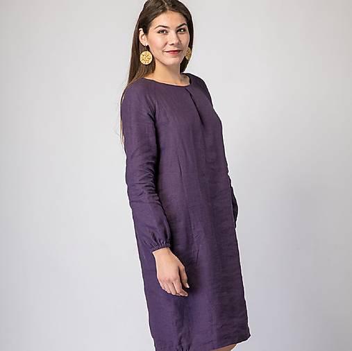 Šaty - Ľanové šaty Betuša fialová - 12756841_