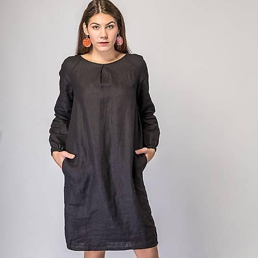 Šaty - Ľanové šaty Betuša čierna - 12756864_