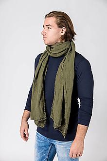 Šatky - Ľanová šatka khaki zelená - 12756671_