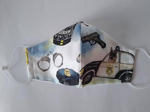 Dizajnové rúško polícia prémiové tvarované dvojvrstvové