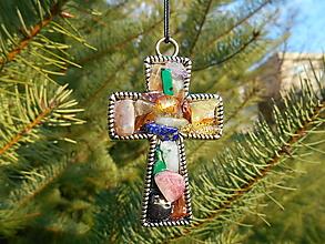Dekorácie - cross with colors minerals- - 12755708_