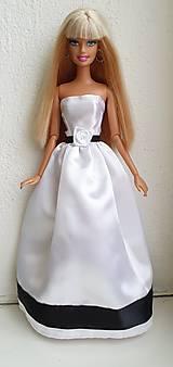 Hračky - Čiernobiele svadobné šaty pre Barbie - 12754620_