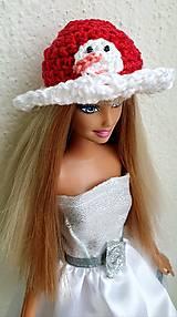 Hračky - Klobúčik so snehuliakom pre Barbie - 12754622_