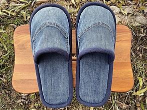 Obuv - Modré papuče s vreckom a tmavomodrým lemom - 12754724_