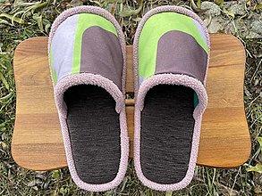 Obuv - Hnedé papuče so zelnohnedým vrchom - 12755612_