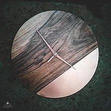 Hodiny - Copper Walnut - Orechové drevené hodiny - 12756478_