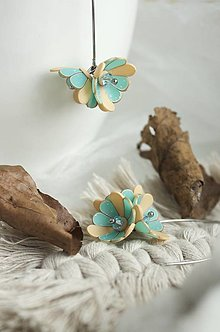 Náušnice - Kvetinové Tanečnice, oker-tyrkys. Chirurgická oceľ - 12757370_