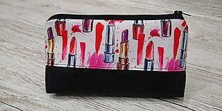 Taštičky - Kozmetická taštička rúže na čiernom - 12758432_