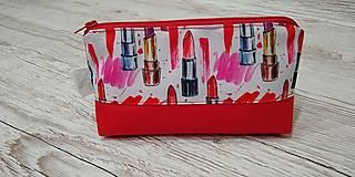 Taštičky - Kozmetická taštička rúže na červenom - 12758736_