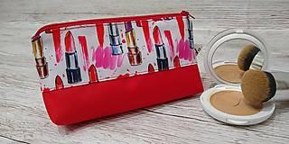 Taštičky - Kozmetická taštička rúže na červenom - 12758737_
