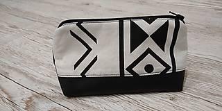 Taštičky - Kozmetická taštička čiernobiela - 12758743_