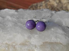 Náušnice - violet stone-čaroit-naušnice-striebro- - 12763641_