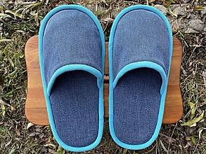 Obuv - Veľké modré papuče s tyrkys lemom - 12760132_