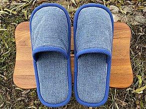 Obuv - Modré denim papuče - 12760617_