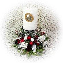 Dekorácie - Vánoční svícen - červeno -bílý - 12760348_