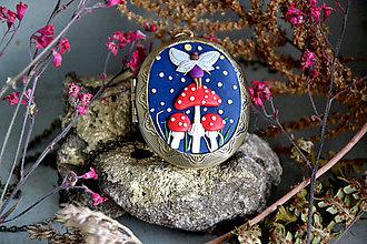 Sady šperkov - Víla Elisia, sada medailón a napichovačky - 12759907_