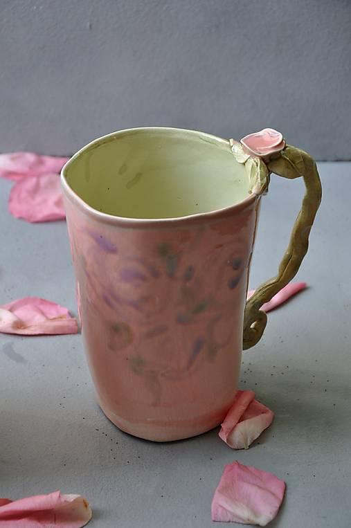 Šálka, hrnček XL  ružovo zelená s ružou