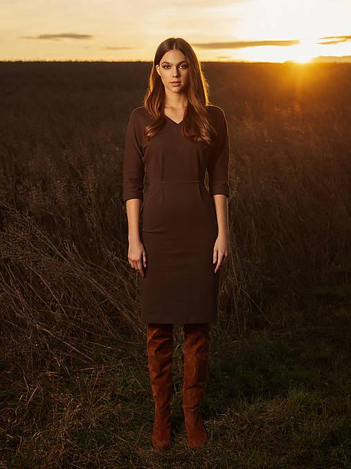 Šaty - Hnedé úpletové šaty - 12763345_