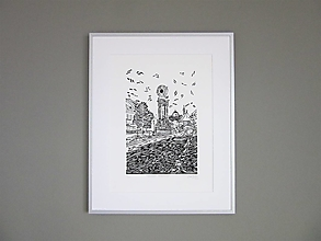 Grafika - BANSKÁ Štiavnica grafika linoryt (Čierna) - 12760731_