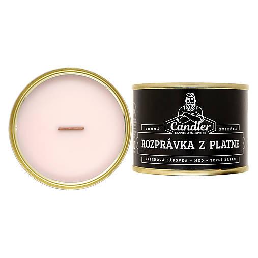 Svietidlá a sviečky - Sójová sviečka Rozprávka z platne, 140 g - 12762461_